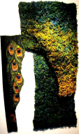 """Skogsfragment - påfågelögon"" textil relief stygn vävfragment 70 x 50 cm"